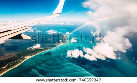 aerial view of airplane flying...