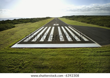 Aerial view of airplane landing field on Maui, Hawaii.