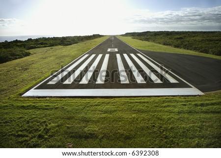 Aerial view of airplane landing field on Maui, Hawaii.