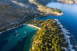 Aerial view of Aliki village and his beautiful beaches. Thassos island, Greece