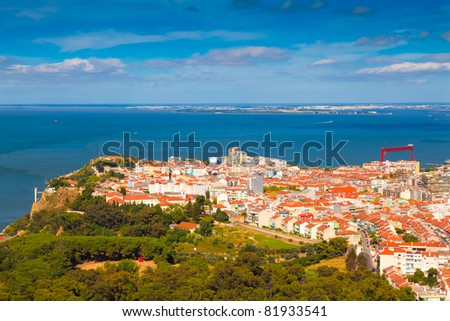 Aerial view of Almada municipality near Lisbon, Portugal - stock photo