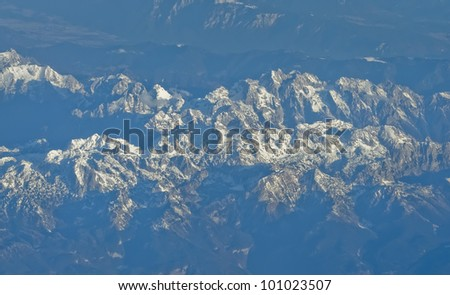 aerial view of Alps mountains in spring