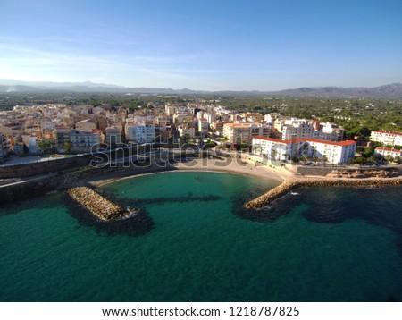 Aerial view of Ametlla de Mar, Tarragona. Spain. Drone Photo