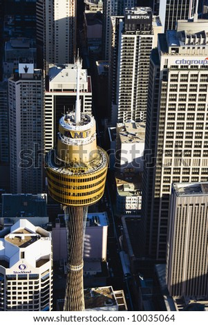 Aerial view of AMP Tower in Sydney, Australia.