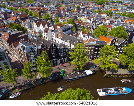 Aerial view of Amsterdam city in a beautiful sunny day