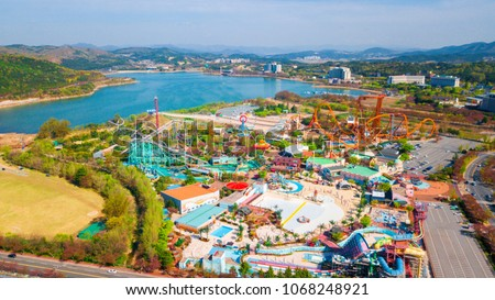 Aerial view of Amusement Park in Gyeongju, South Korea. Aerial view from drone.