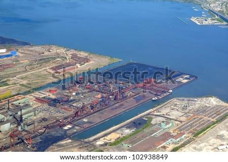 aerial view of an industrial area along the Lake Ontario in Hamilton Ontario, Canada