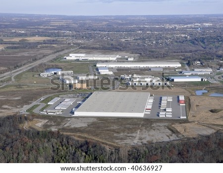 aerial view of an industrial area, Brantford ON Canada