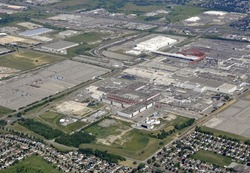 aerial view of an industrial area in Oshawa Ontario Canada