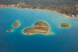 Aerial view of an island in the Adriatic
