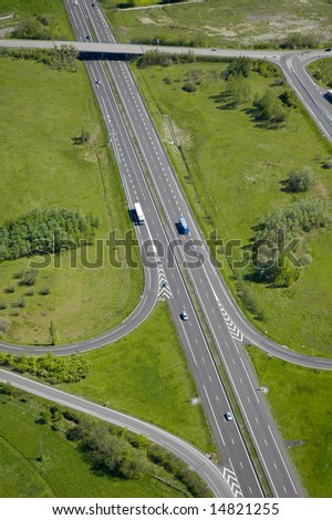 Aerial view of an motorway / Highway in Europe France