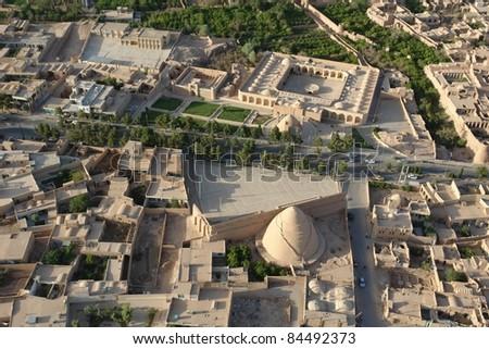Aerial view of ancient city, Maybod, Iran - stock photo