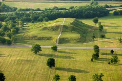 Aerial view of ancient Native American burial mound Cahokia Mounds, Illinois, USA