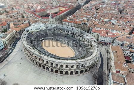 Aerial view of ancient roman amphitheatre on Nimes, France Stock fotó ©