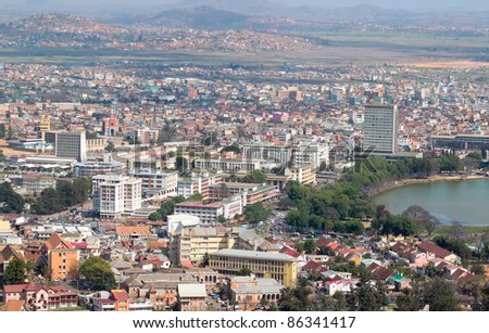 Aerial view of Antananarivo capital city of Madagascar with focus on the administrative part of the city