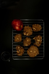 Aerial view of apple cookies with natural fruit cubes healthy food free of preservatives in Mexico arranged on grid