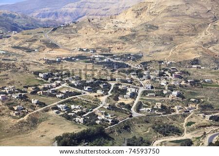 aerial view of arabian village near Al Karak, Jordan