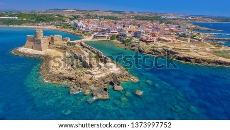 Aerial view of Aragonese Fortress in Calabria - Italy. #1373997752
