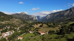 Aerial view of Arenas de Cabrales. Las Arenas is one of nine Parish in Cabrales, a municipality within the province and autonomous community of Asturias, in northern Spain.