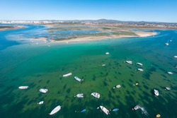 Aerial view of Armona Island, Ria Formosa, Algarve, Portugal.