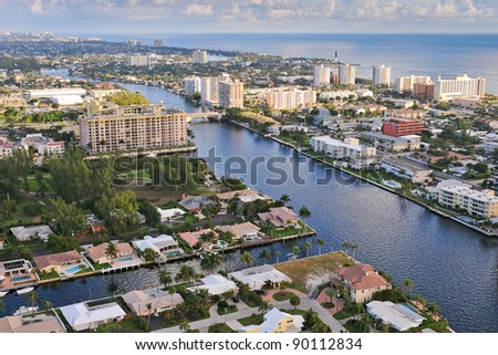 aerial view of atlantic intracoastal waterway and ocean at pompano beach florida, with hillsboro inlet and lighthouse