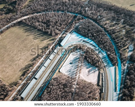 Aerial View of Autodromo Nazionale Monza, that is a race track near the city of Monza in Italy, north of Milan. Venue of the Formula 1 Grand Prix. Epic drone shot in autumn. Stock photo ©