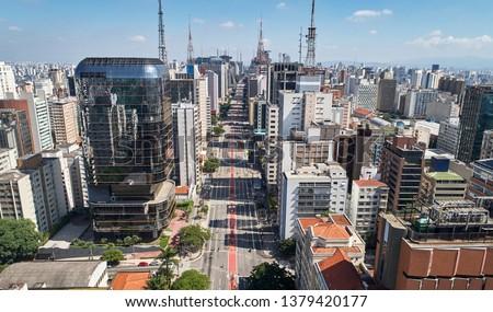 Aerial view of Avenida Paulista (Paulista avenue) in Sao Paulo city, Brazil Foto stock ©