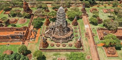 Aerial view of Ayutthaya temple, Wat Ratchaburana, empty during covid, in Phra Nakhon Si Ayutthaya, Historic City in Thailand