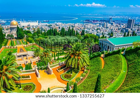 Aerial view of Bahai gardens in Haifa, Israel