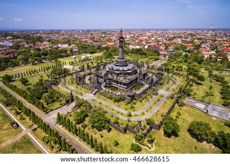 Aerial view of Bajra Sandhi Monument in Denpasar CIty, Bali, Indonesia.