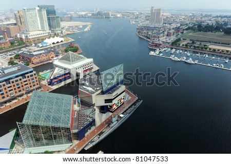 Aerial view of Baltimore Harbor on a sunny day