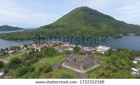 Aerial view of Banda Neira, a beautiful and famous island in Maluku, Indonesia Foto stock ©