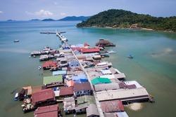 Aerial view of Bang Bao fishing village on Koh Chang Island, Thailand