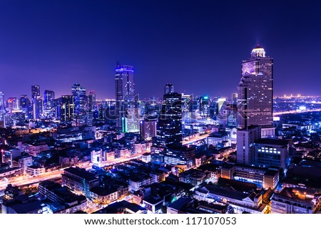 Aerial View Of Bangkok At Twilight Night