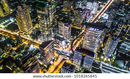Aerial view of bangkok city modern office buildings, condominium, hotel in bangkok city downtown business and finance.