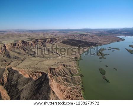 Aerial view of Barancas Burujon Canyon. Toledo, Spain. Drone Photo #1238273992