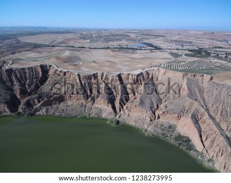 Aerial view of Barancas Burujon Canyon. Toledo, Spain. Drone Photo #1238273995