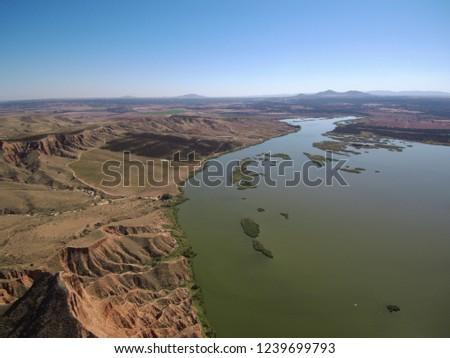 Aerial view of Barancas Burujon Canyon. Toledo, Spain. Drone Photo #1239699793
