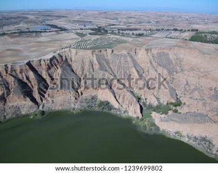 Aerial view of Barancas Burujon Canyon. Toledo, Spain. Drone Photo #1239699802