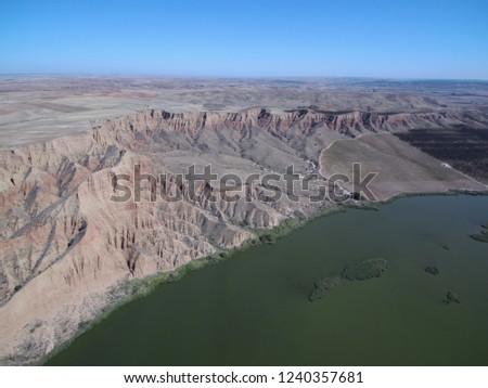 Aerial view of Barancas Burujon Canyon. Toledo, Spain. Drone Photo #1240357681