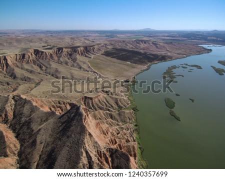 Aerial view of Barancas Burujon Canyon. Toledo, Spain. Drone Photo #1240357699