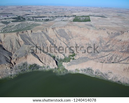 Aerial view of Barancas Burujon Canyon. Toledo, Spain. Drone Photo #1240414078