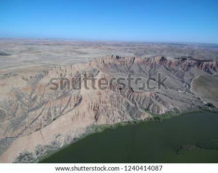 Aerial view of Barancas Burujon Canyon. Toledo, Spain. Drone Photo #1240414087