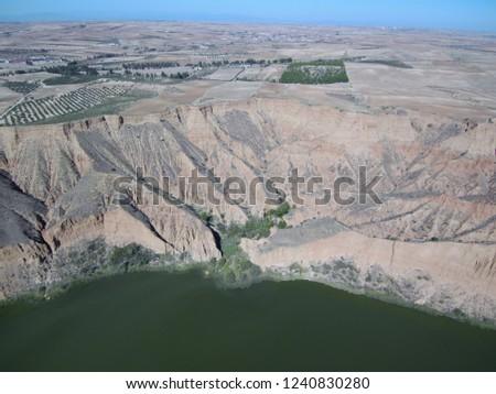 Aerial view of Barancas Burujon Canyon. Toledo, Spain. Drone Photo #1240830280