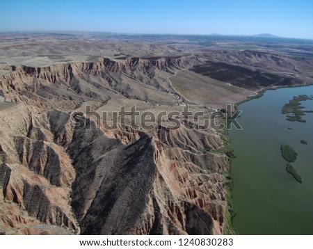 Aerial view of Barancas Burujon Canyon. Toledo, Spain. Drone Photo #1240830283