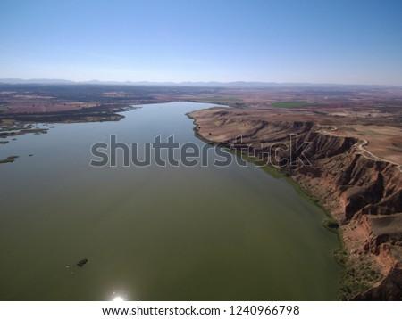 Aerial view of Barancas Burujon Canyon. Toledo, Spain. Drone Photo #1240966798