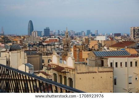 Aerial view of Barcelona city, Spain Foto d'archivio ©