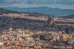 Aerial view of Barcelona, Sagrada familia and plaza catalunya. Catalonia, Spain