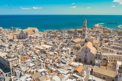 Aerial view of Bari old town. On the right there is Bari Cathedral (Saint Sabino), on the left there is