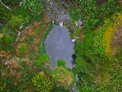 Aerial view of 'Bassin Canon' waterfall located in the south of Mauritius island